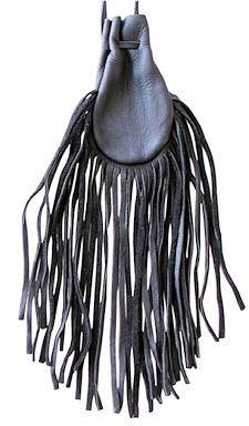 "Fringed 4x5"" Black Buckskin Poke Bag"