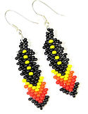 Beaded Feather seed bead dangle earrings