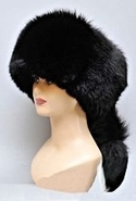 Black Fox Fur Hat with Tail