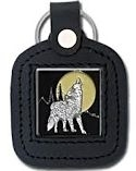 Delux Wolf Moon Leather Keychain