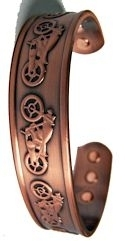 Embossed Motorcycle Magnetized Copper Bracelet