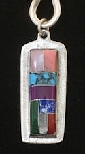 Diamond Cut Medicine Stone Inlaid Pendant #3-007A