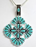 Petit Point Turquoise Cross Pendant