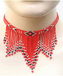 Red Native Seeing Eye Seed Beaded Necklace