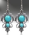 2 Stone Turquoise Feather Earrings
