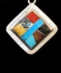 Square Powerstone Inlaid Pendant #3-009B