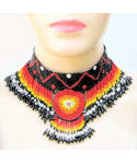 Sundance Medallion Fire Beaded Choker Necklace